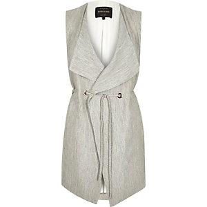 Grey smart minimal sleeveless jacket