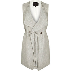 Grey smart minimal sleeveless jacket