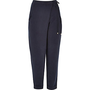 Dark blue soft tie waist pants