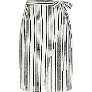 Black stripe tie wrap midi skirt