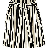 Black stripe wrap mini skirt