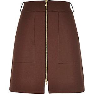 Brown zip-up A-line skirt