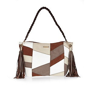 Brown patchwork slouch bag