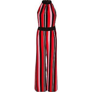 Red stripe smart wide leg jumpsuit