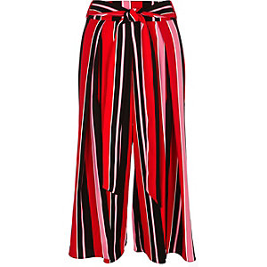 Red stripe soft cropped wide leg pants