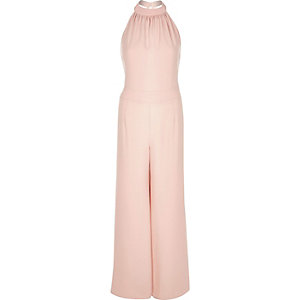 Pink halter neck wide leg jumpsuit