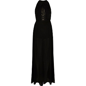 Black lace-up flared jumpsuit