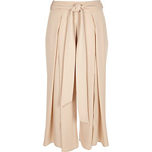 Pink soft cropped wide leg pants