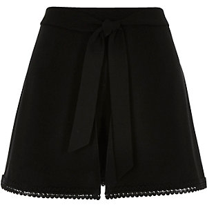 Black satin crepe lace trim shorts