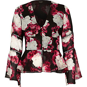 Pink floral chiffon draped sleeve blouse