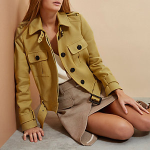 Yellow RI Studio cropped trench jacket