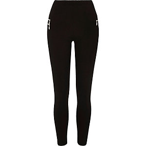 Black premium high waisted zip leggings