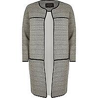 Grey jersey trimmed long jacket