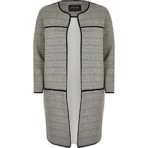 Grey jersey trimmed long jacket