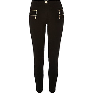 Black double zip skinny trousers