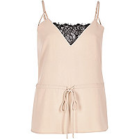 Pink lace trim cami