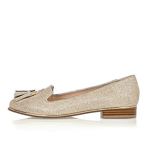 Gold metallic tassel loafers