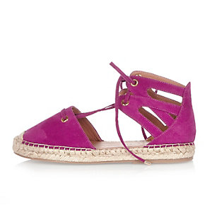 Pink tie-up espadrille sandals