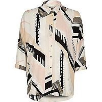 Light pink geometric print back detail shirt