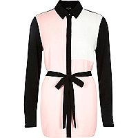 Pink color block belted shirt