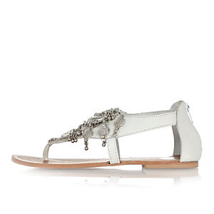 White leather coin embellished sandals