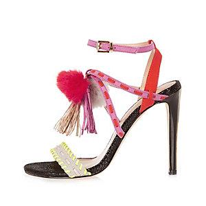 Pink pom pom strappy heels