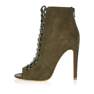 Khaki lace-up peep toe heeled shoe boots