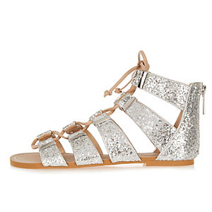 Silver glittery lace-up sandals