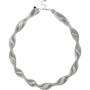 Silver tone twisted necklace