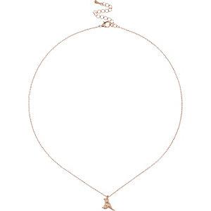 Rose gold tone bird necklace