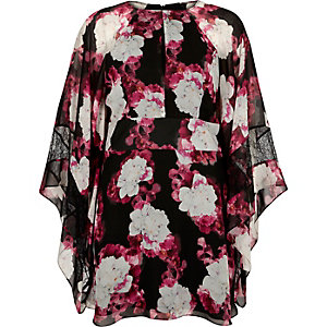 Pink floral print draped sleeve dress