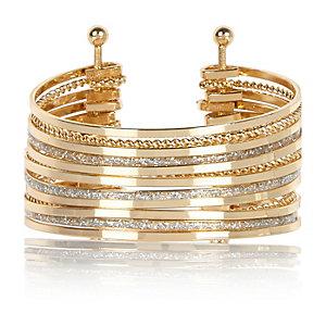 Gold tone stacked glitter cuff