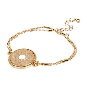 Gold tone filigree mop bangle