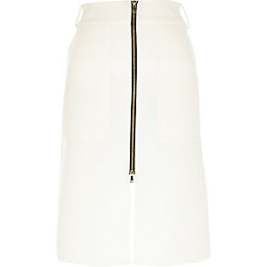 Cream zip front midi skirt