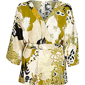 Green oriental print belted top
