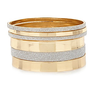 Gold tone glitter bangle pack