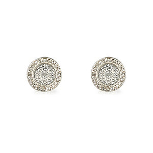 Silver tone filigree stud earrings