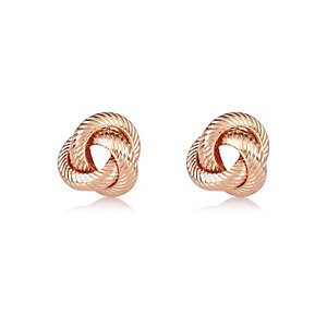Rose gold tone knotted stud earrings
