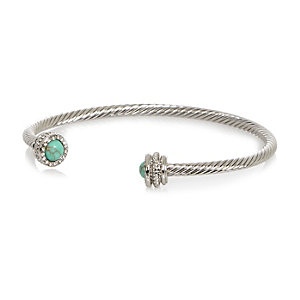 Silver tone turquoise stone bangle