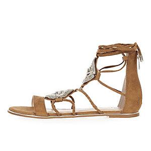 Brown embellished lace-up sandals