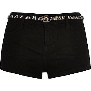 Schwarze Jeans-Hotpants mit Stretch