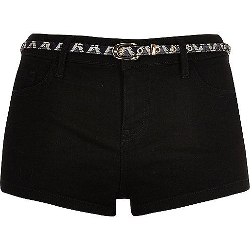 Short en jean noir stretch