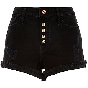 Washed black distressed Ruby denim shorts