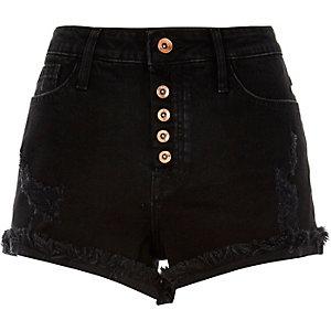 Short Ruby en jean noir délavé usé