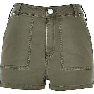 Khaki high waisted shorts