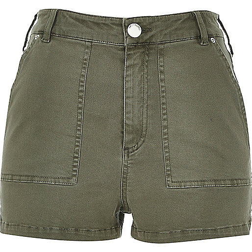 Khaki high rise shorts