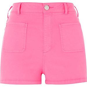 Fluro pink high rise shorts
