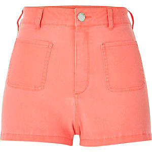 Orange high rise denim shorts