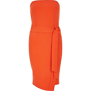 Orange bandeau bodycon dress