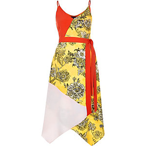 Red print color block wrap dress